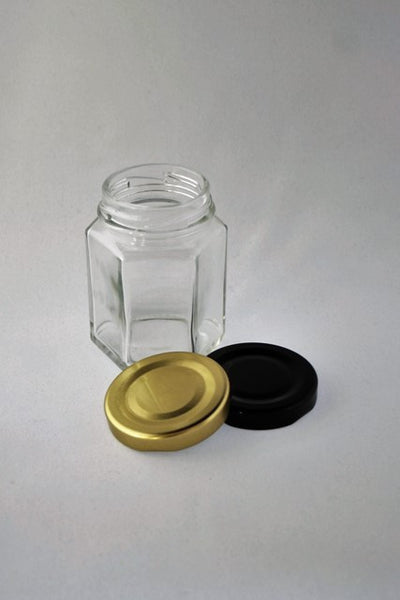 Jar, 110ml Hexagonal Glass, 48mm Twist finish, carton of 50, including caps