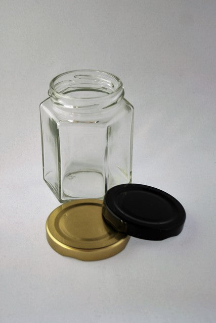 Jar, 190ml Hexagonal Glass, 58mm Twist finish, carton of 28, including caps