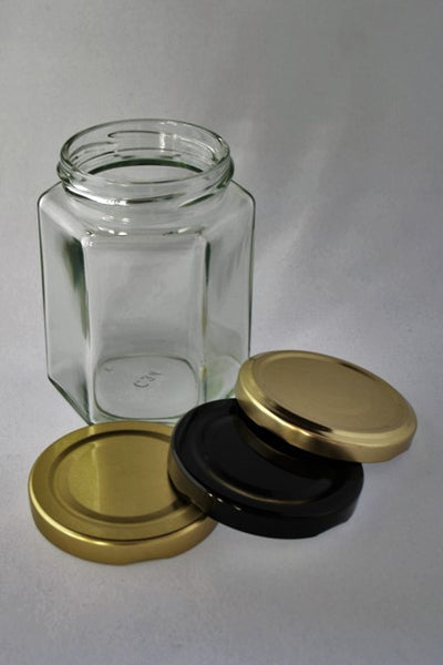 Jar, 270ml Hexagonal Glass, 63mm Twist finish, carton of 25, including caps
