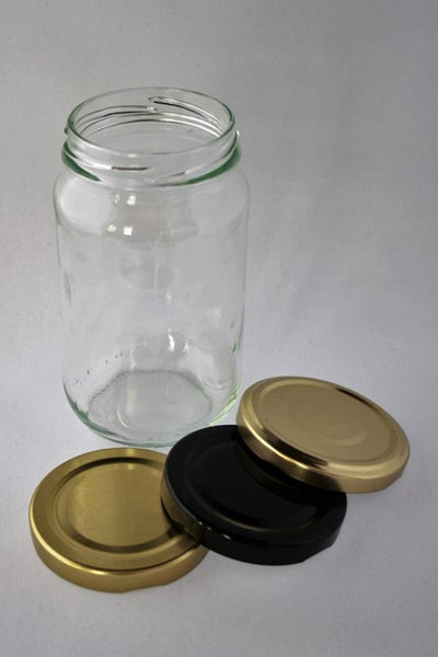 Jar, 375ml Round Glass, 63mm Twist finish, carton of 72, including caps.