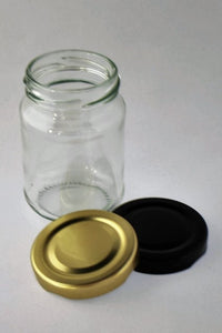 Jar, 150ml Round Glass, 53mm Twist finish, carton of 48, including caps
