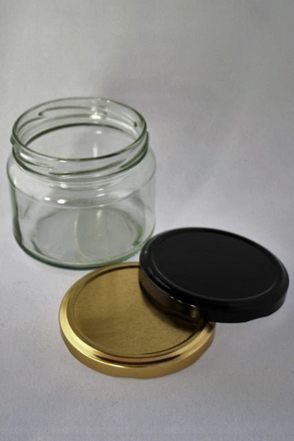 Jar, 300ml squat Salsa, Round Glass, 82mm Twist finish, carton of 75, including caps.