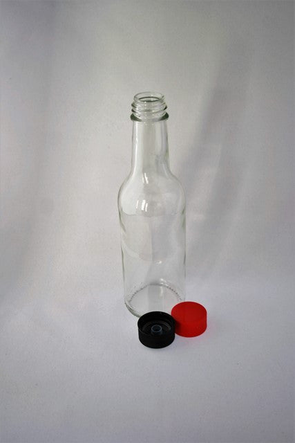 Bottle, 150ml Round Glass, Liquid Food, 28mm screw finish, 40 per pack, includes cap