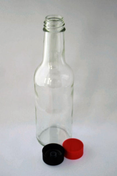 Bottle, 250ml Round Glass, Liquid Food, 28mm screw finish, 30 per pack, includes cap