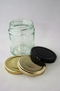 Jar, 190ml Round Glass, 63mm Twist finish, carton of 42, including caps