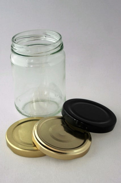 Jar, 250ml Round Glass, 63mm Twist finish, carton of 110, including caps