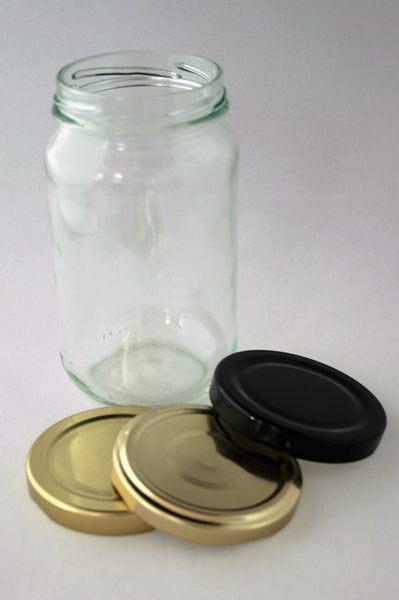 Jar, 500ml Round Glass, 63mm Twist finish, ctn of 50, including caps