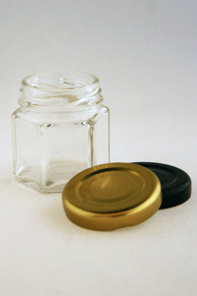 Jar, 45ml Hexagonal Glass, 43mm Twist finish, carton of 150, including caps.