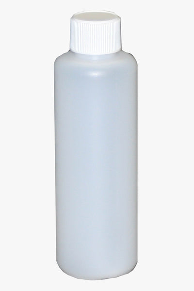 Bottle, 125ml HDPE plastic, carton of 400, including 28mm White cello wadded caps
