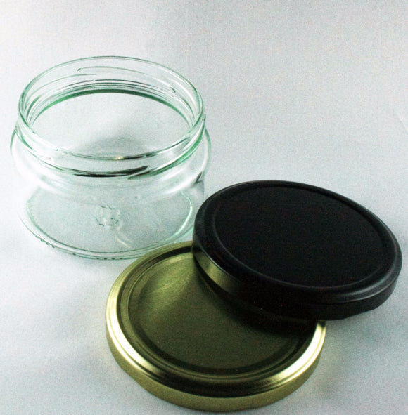 Jar, 200ml squat Salsa, Round Glass, 82mm Twist finish, carton of 12, including caps.