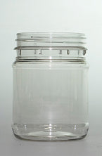 Jar, 250ml Clear Round PET, 63mm screw finish, ctn of 288 including White Cello Wadded Cap