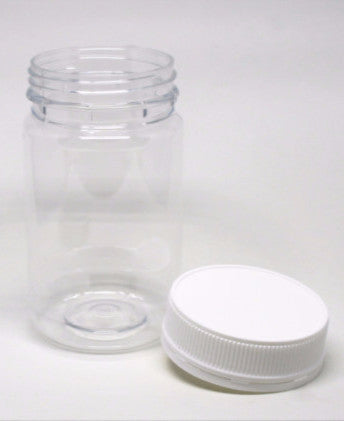 Jar, 375ml Clear Round PET, 63mm screw finish, ctn of 48 including White Cello Wadded Cap