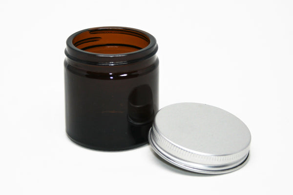 Jar, Amber Glass, 60ml 51mm Screw finish, including Silver aluminium cap