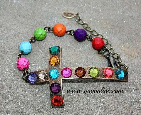 Large Bronze Cross Covered in Crystals Bracelet with Multi Colored Beads