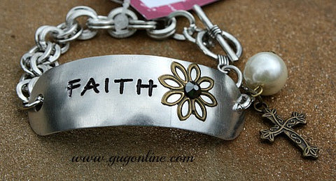 Silver Faith Bracelet with Dangle Charms