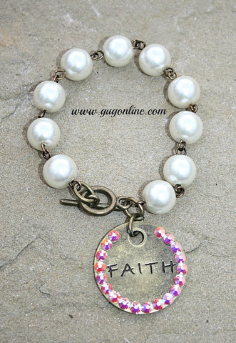 Bronze Faith Charm Covered in AB Crystals on Pearl Bracelet