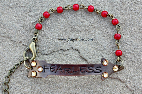 Fearless Crystal Arrow on Red and Bronze Chain Bracelet