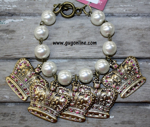 AB Crystals on Bronze Crowns on Pearl Beaded Bracelet