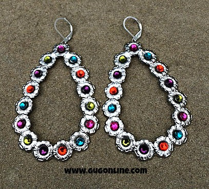 Multi Colored Crystals on Silver Teardrop Earrings