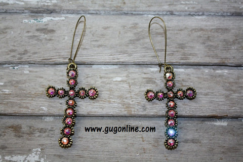 Pink Panache AB Crystals on Bronze Skinny Cross Earrings