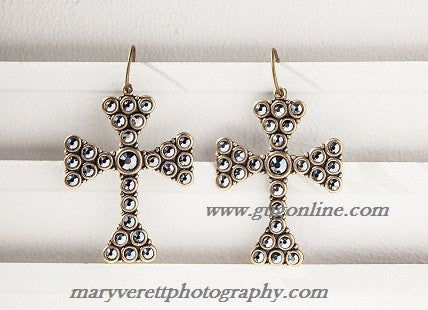 Black Iridescent Crystals on Bronze Large Chopper Cross Earrings