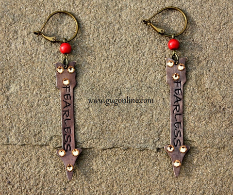 Fearless Crystal Arrow on Red and Bronze Earrings