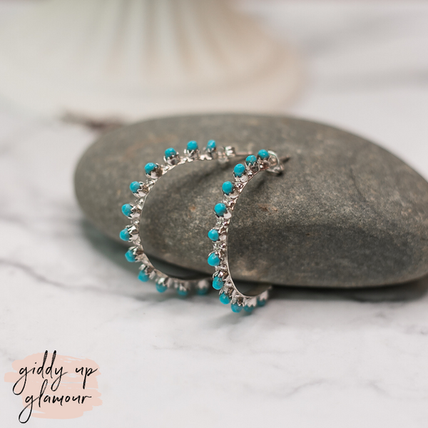 Navajo | Genuine Sterling Silver Hoops with Turquoise Circle Stone