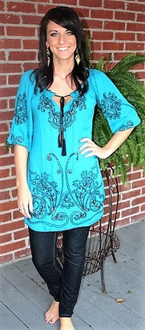 Glitz N Glamour Tunic with Embroidery in Turquoise