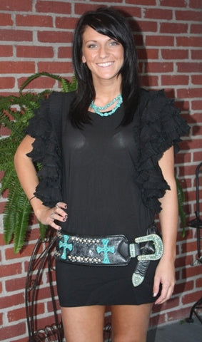 Kurtmen Designs-Black and Silver Acid Wash Belt with Turquoise Crosses