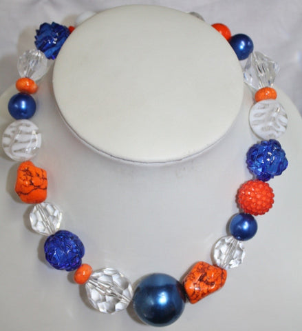 GUG Hand Strung Clear Blue and Orange Beaded Necklace