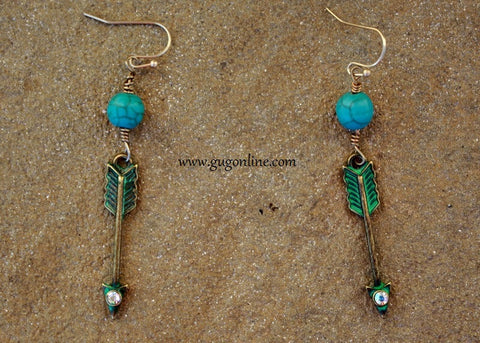 Arrow Earrings with Crystals and Turquoise in Distressed Turquoise