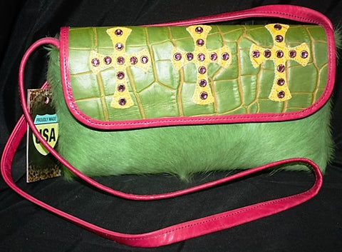 KurtMen Designs -OL- Lime Green, Yellow and Hot Pink Small Envelope Purse