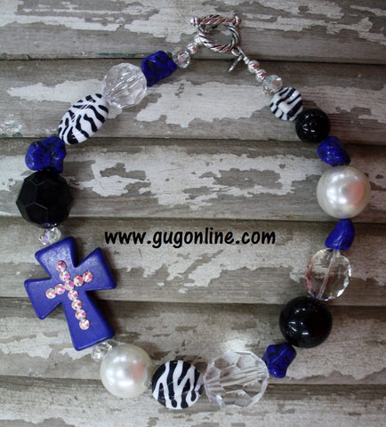 GUG Hand Strung Zebra Blue and Black with Side Blue Cross Necklace