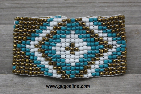 Turquoise and Gold Aztec Beaded Bracelet