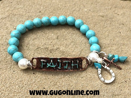 Faith on Turquoise Beaded Bracelet with Charms