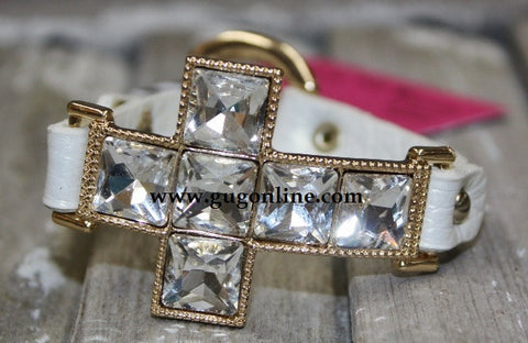 Crystal Cross on Ivory Snap Bracelet