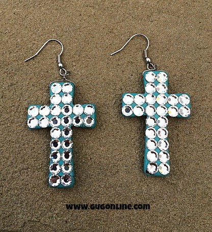Turquoise Cross Earrings Covered in Crystals
