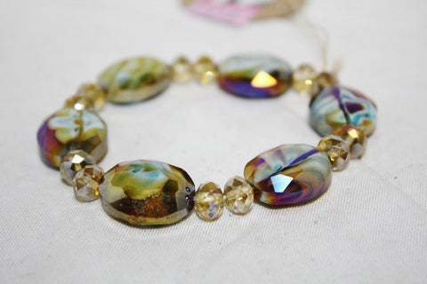 Antique Gold Stretchy Crystal Bracelet
