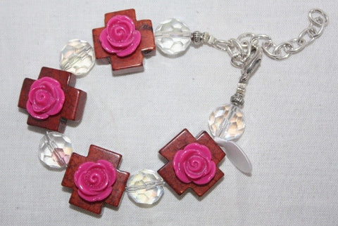 Brown Crosses with Pink Flowers Bracelet