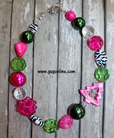 GUG Christmas Necklace Pink and Green