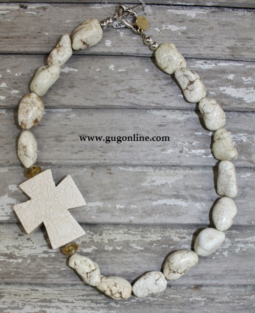 Chunky Stone Necklace White Cross