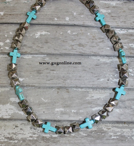GUG Handstrung Studded Silver and Turquoise Cross Necklace