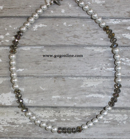 GUG Handstrung Silver Pearl and Crystal Necklace