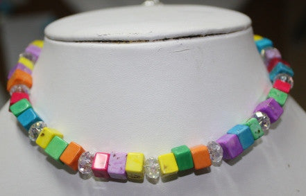 Baby Glamour Necklace - Multi Colored Cubes spaced with AB crystals