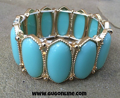 Mint Oval Stretchy Bracelet