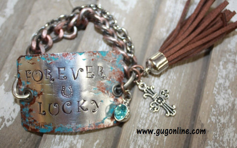 Forever Lucky Silver Metal Chain Bracelet with a Brown Tassel and Blue Dangle Charm