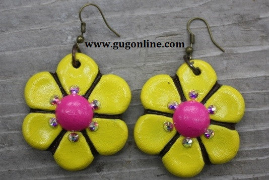Polymer Clay Earrings Dangle Yellow Flowers