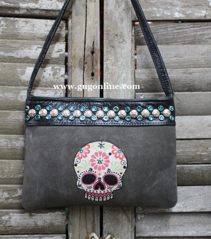 KurtMen Designs OL Gray Suede with Style B Sugar Skull and Turquoise Swavorski Crystals