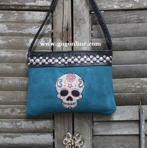KurtMen Designs OL Blue Suede with Style A Sugar Skull and AB Swavorski Crystals