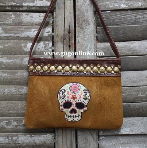 KurtMen Designs OL Light Brown Suede with Style A Sugar Skull and Tan Swavorski Crystals